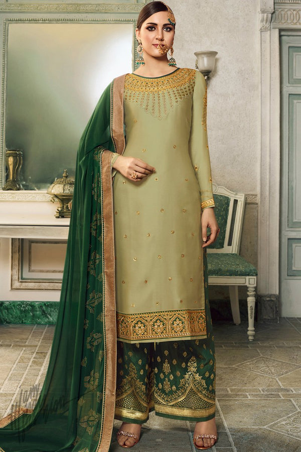 Olive and Forest Green Satin Silk Lehenga or Palazzo Style Suit