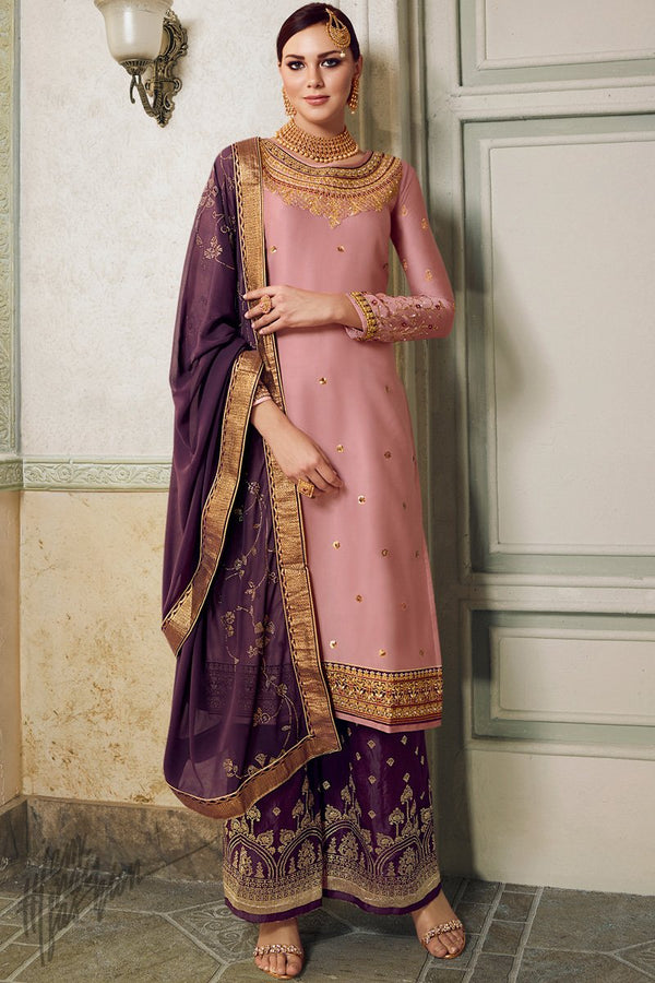 Rose Pink and Wine Satin Silk Lehenga or Palazzo Style Suit
