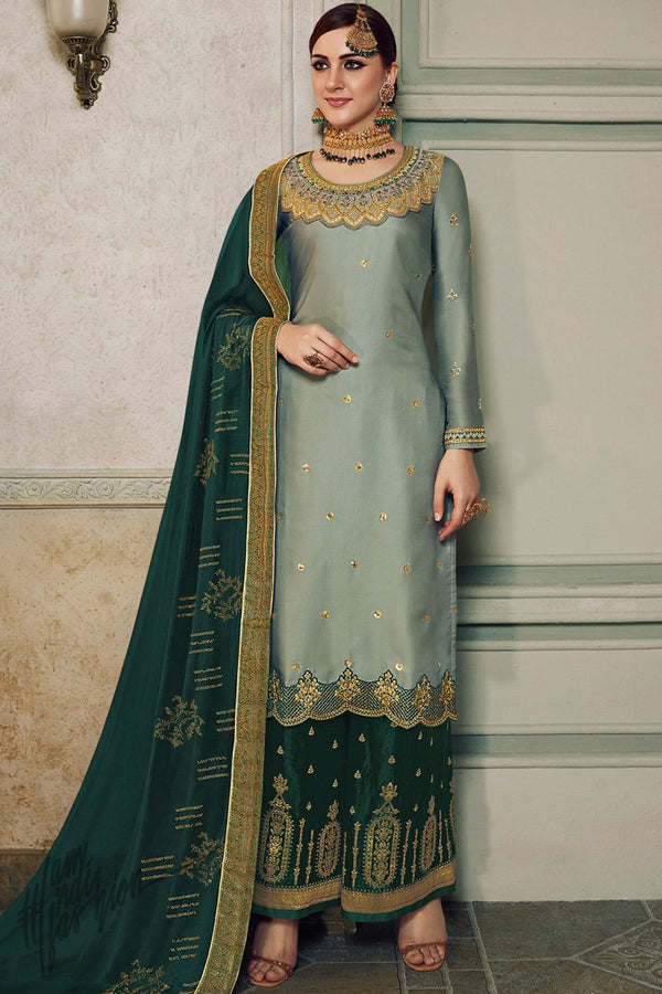 Sage and Bottle Green Satin Silk Lehenga or Palazzo Style Suit