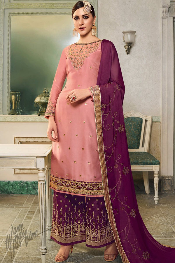 Pink and Plum Purple Satin Silk Lehenga or Palazzo Style Suit