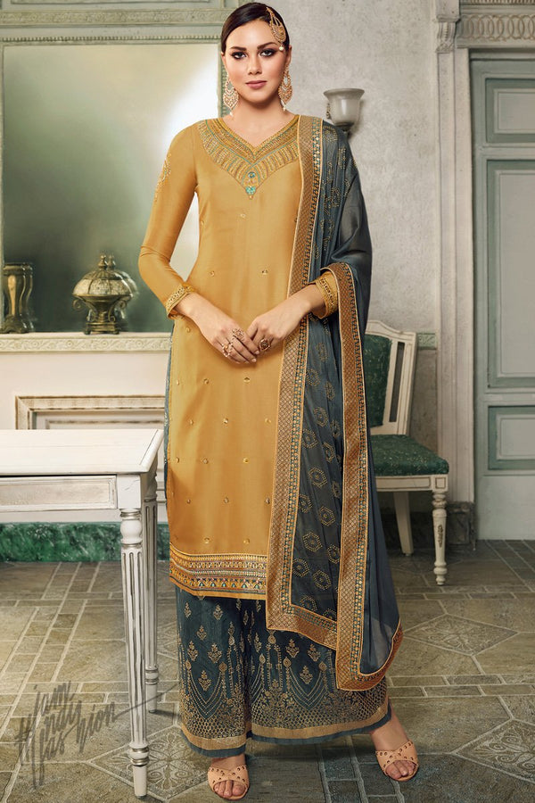 Mustard and Grayish Green Satin Silk Lehenga or Palazzo Style Suit