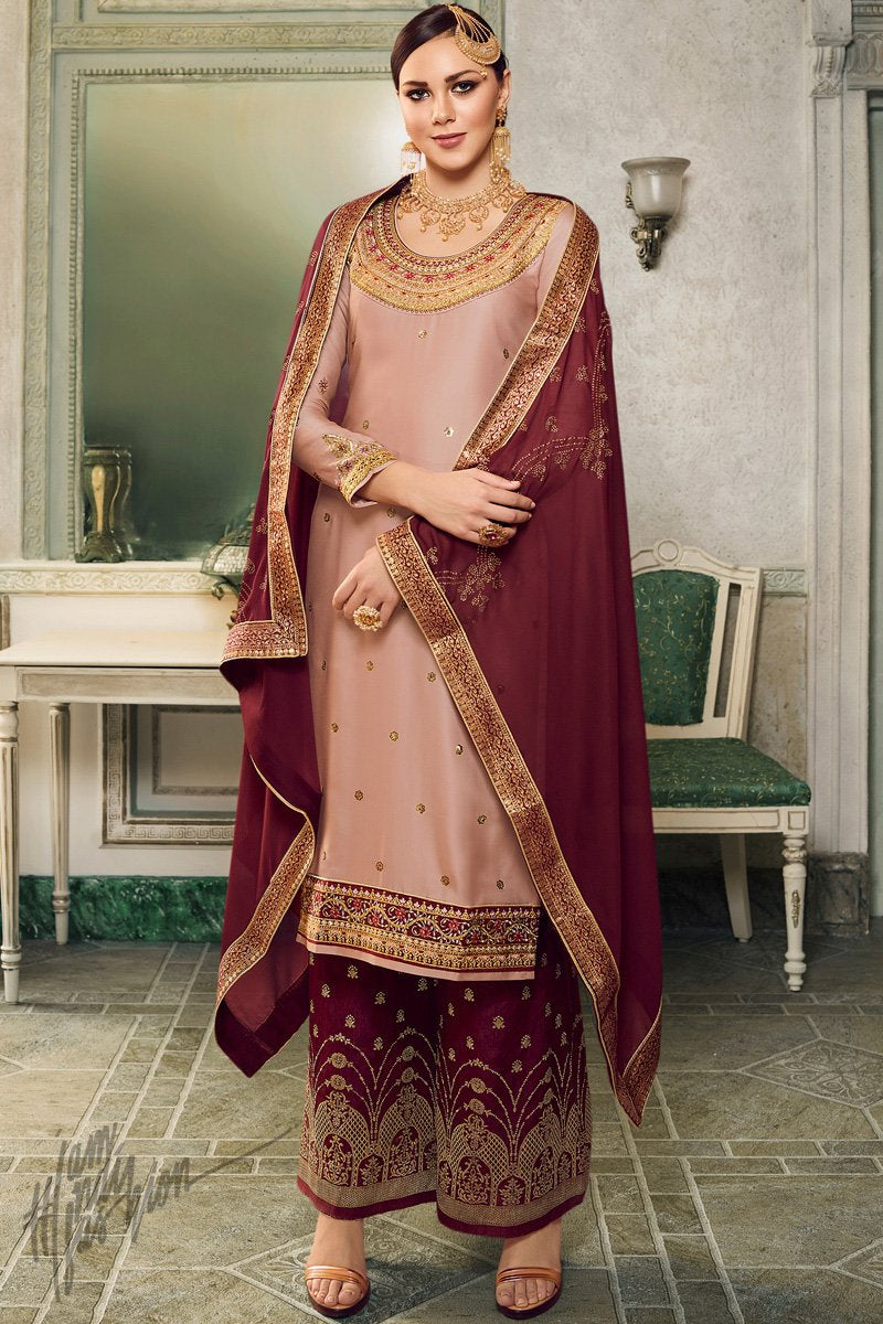 Salmon Pink and Jam Red Satin Silk Lehenga or Palazzo Style Suit