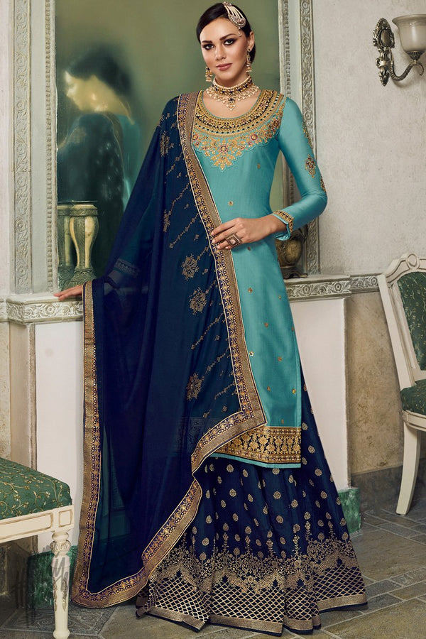 Sky and Navy Blue Satin Silk Lehenga or Palazzo Style Suit