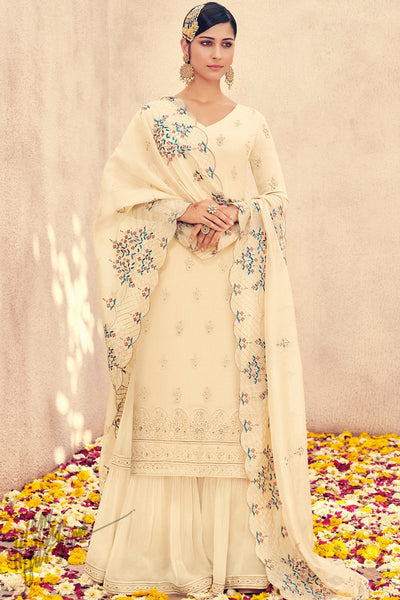Milk Cream Pure Georgette Sharara Suit