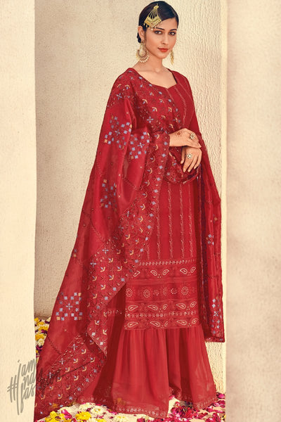 Red Pure Georgette Sharara Suit