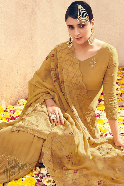Peanut Brown Pure Georgette Sharara Suit