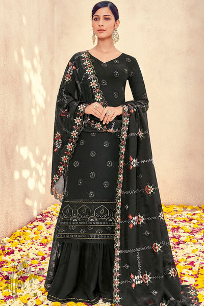 Black Pure Georgette Sharara Suit