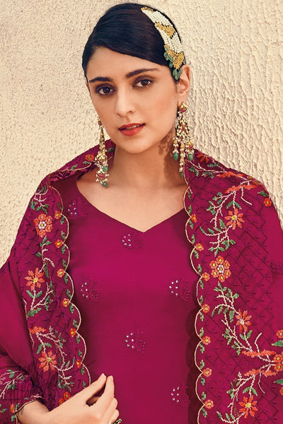 Jam Purple Pure Georgette Sharara Suit