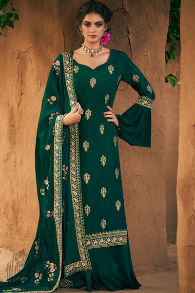 Bottle Green Australian Silk Palazzo Suit