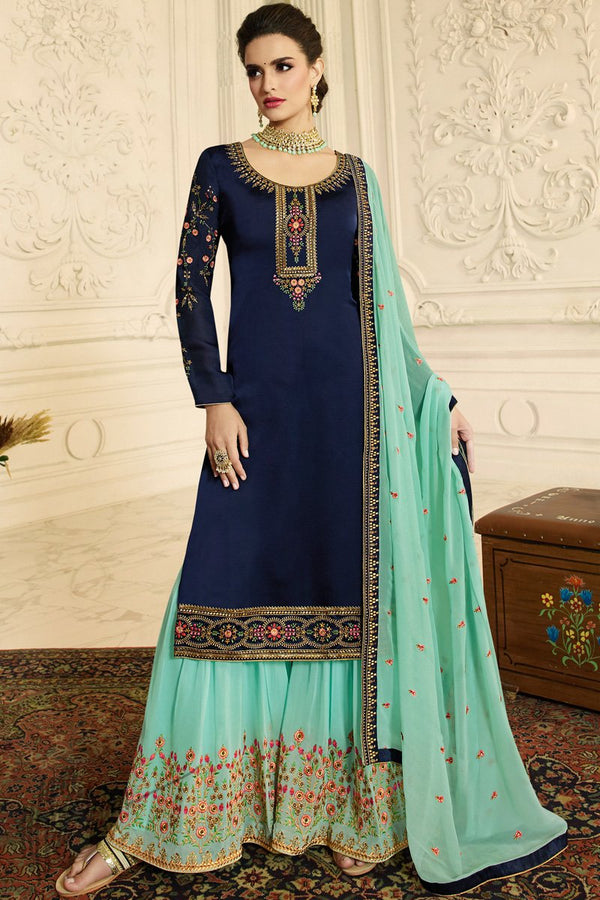 Denim Blue and Teal Satin Georgette Palazzo Suit
