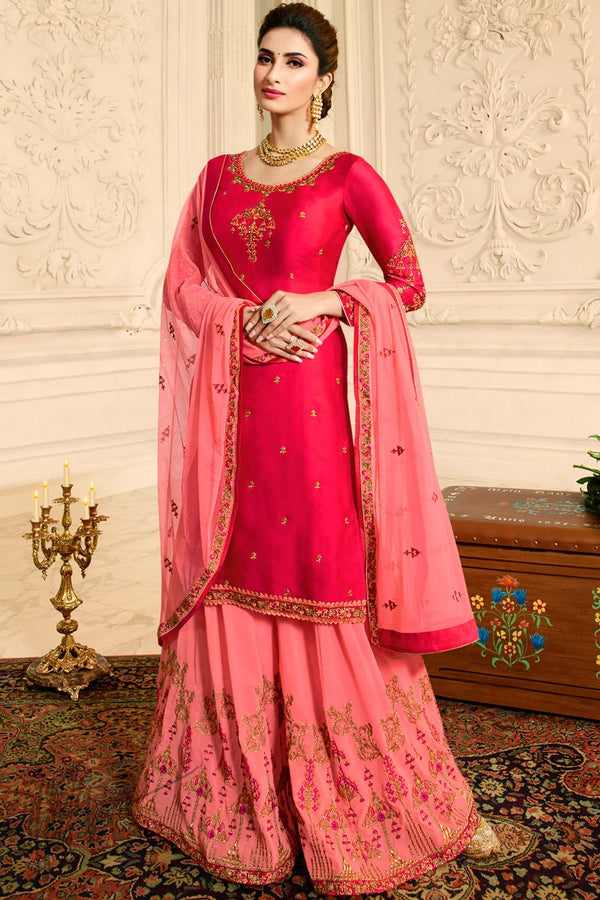 Red and Pink Satin Georgette Palazzo Suit