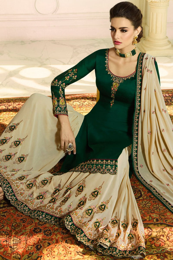 Forest Green and Beige Satin Georgette Palazzo Suit
