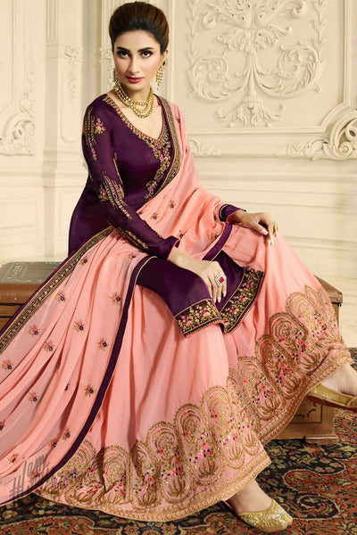 Wine and Lemonade Pink Satin Georgette Palazzo Suit