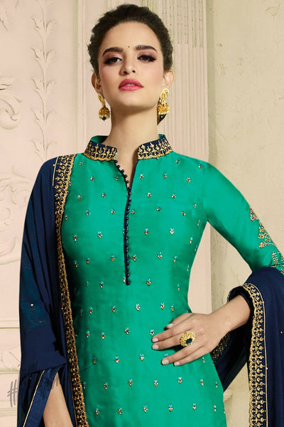 Green and Denim Blue Satin Georgette Palazzo Suit