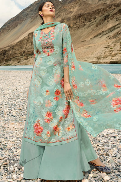 Light Turquoise Georgette Palazzo Suit