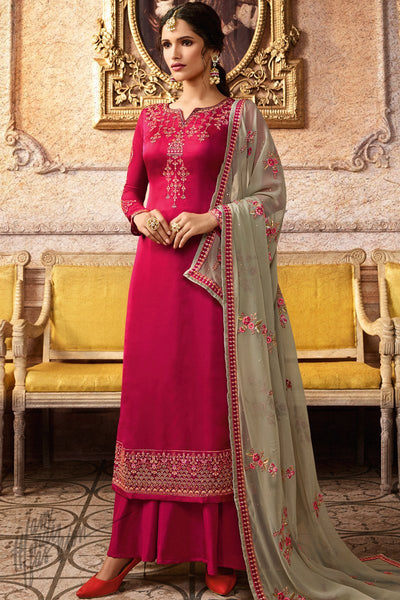 Magenta and Sage Green Satin Georgette Palazzo Suit