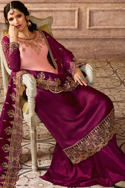 Baby Pink and Wine Ombre Satin Georgette Palazzo Suit