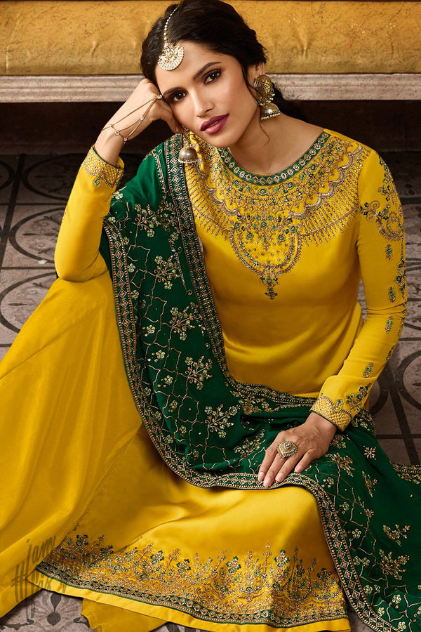 Mustard and Green Satin Georgette Palazzo Suit