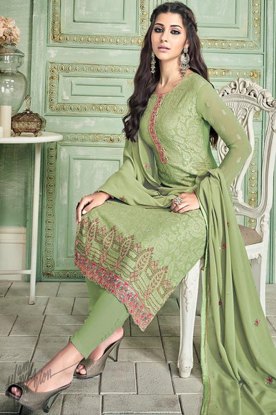 Green Georgette Straight Suit