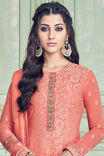 Peach Georgette Straight Suit