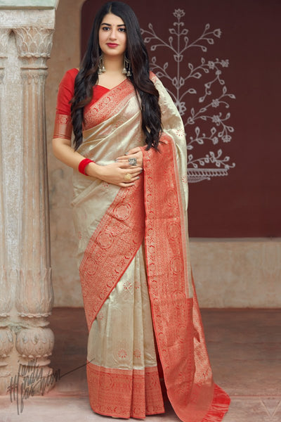 Linen White and Red Weaving Silk Saree