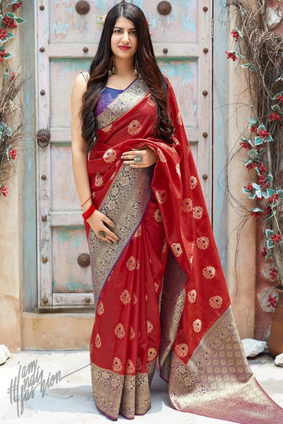 Brick Red and Violet Weaving Silk Saree