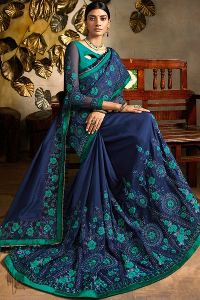 Blue and Rama Green Art Silk Festive Saree