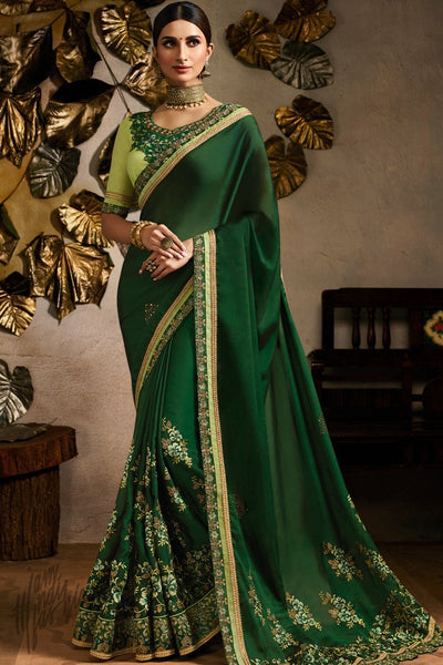 Bottle and Pista Green Art Silk Festive Saree