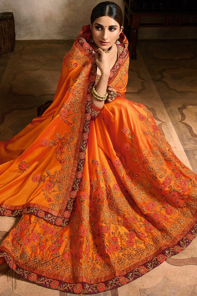 Orange and Maroon Art Silk Festive Saree