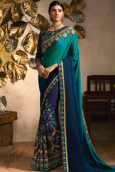 Blue Ombre Georgette Festive Saree