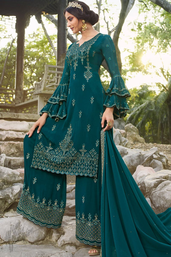 Dark Turquoise Chinnon and Georgette Palazzo Suit