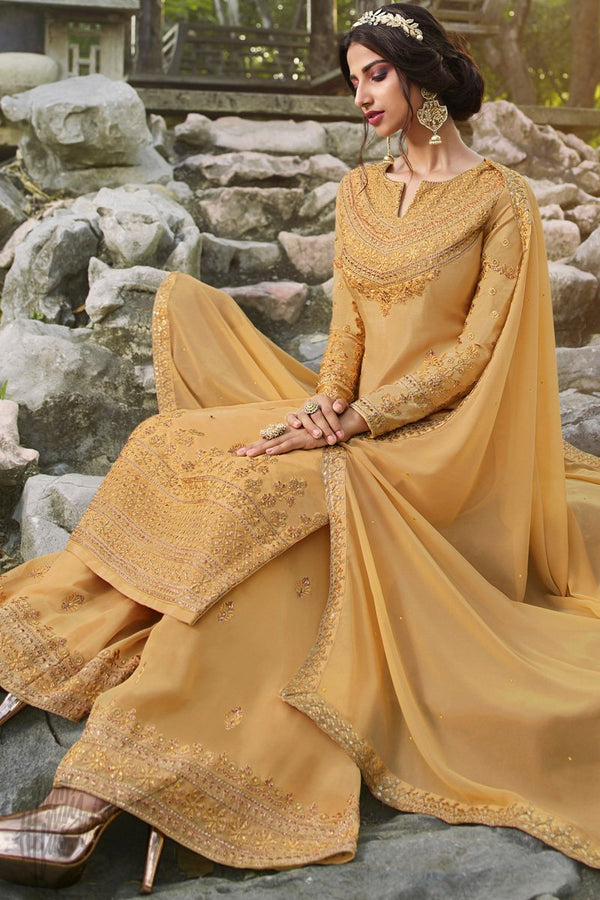 Goldenrod Chinnon and Georgette Palazzo Suit