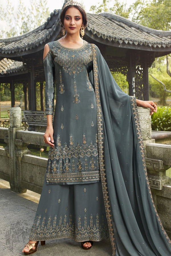 Steel Gray Chinnon and Georgette Palazzo Suit
