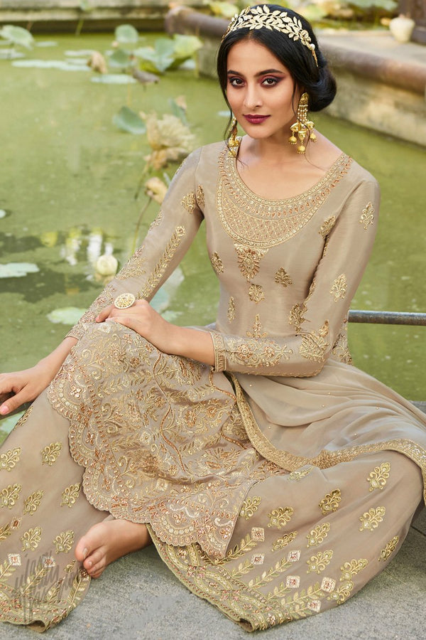 Champagne Chinnon and Georgette Palazzo Suit