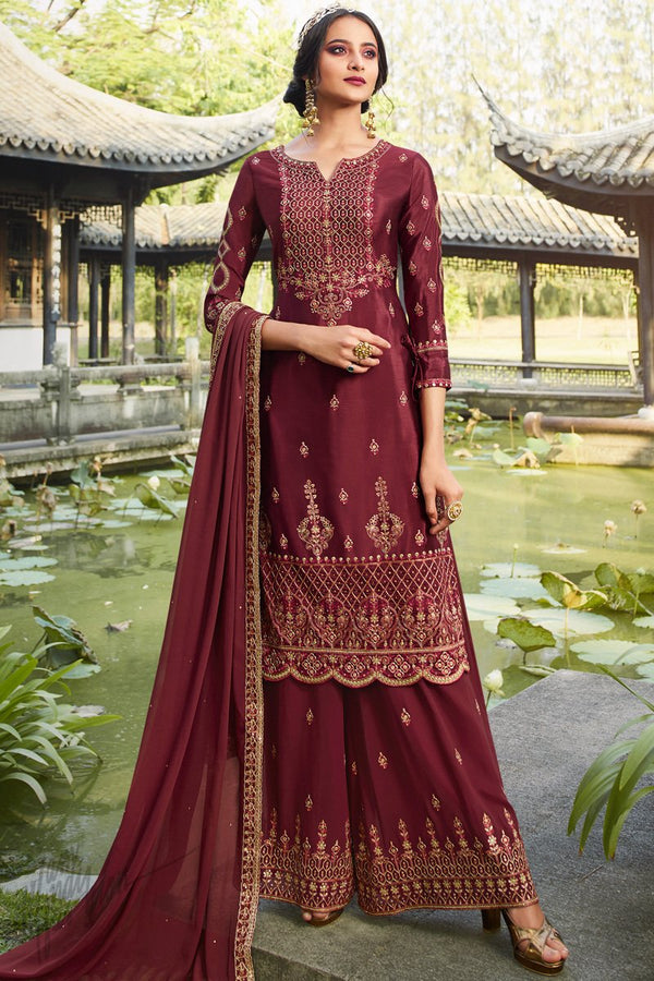Wine Chinnon and Georgette Palazzo Suit
