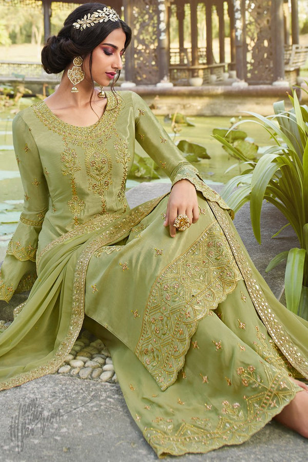 Salad Green Chinnon and Georgette Palazzo Suit