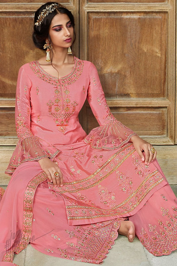 Light Coral Pink Chinnon and Georgette Palazzo Suit