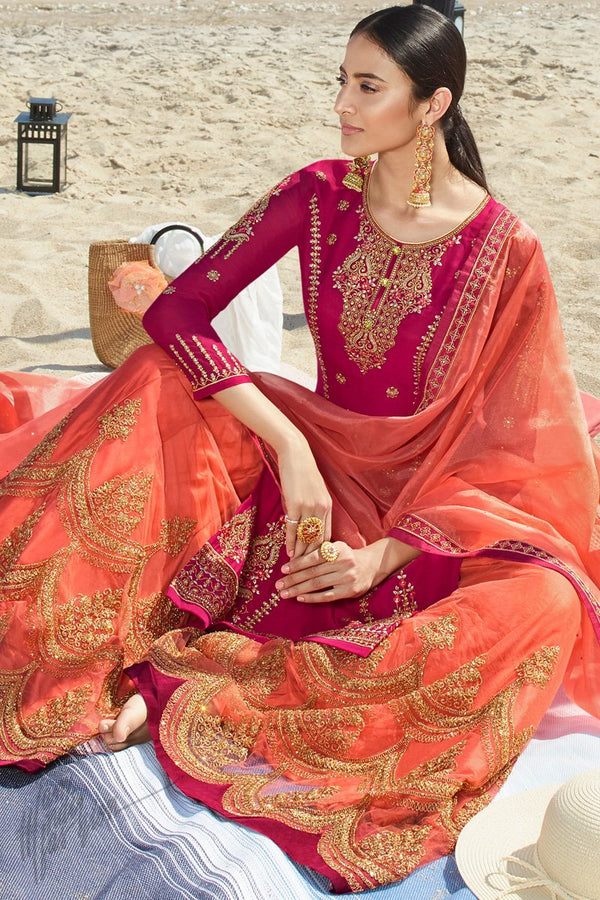 Magenta and Peach Satin Georgette Sharara Suit