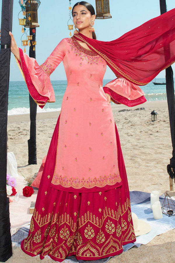Rose Pink and Magenta Satin Georgette Sharara Suit
