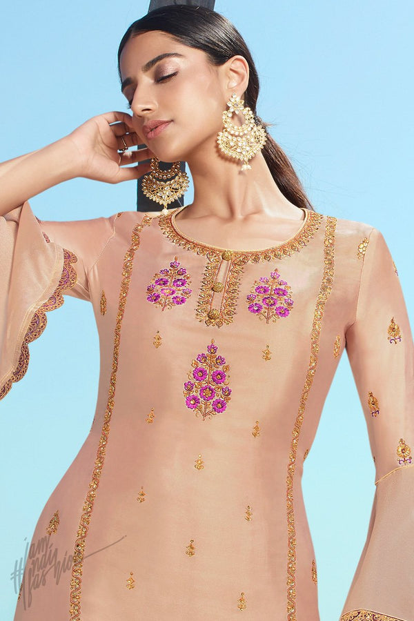 Latte and Purple Satin Georgette Sharara Suit