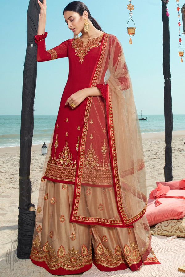 Scarlet Red and Sepia Brown Faux Georgette Sharara Suit