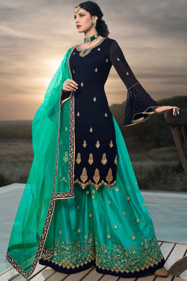 Midnight Blue and Teal Faux Georgette Sharara Suit
