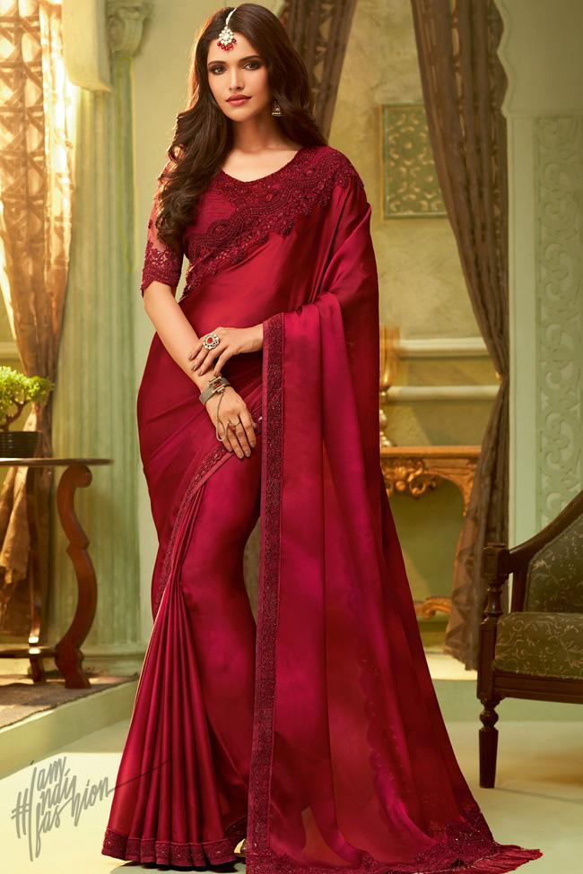 Red Silk Party Wear Saree