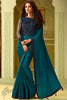 Teal and Denim Blue Silk Party Wear Saree