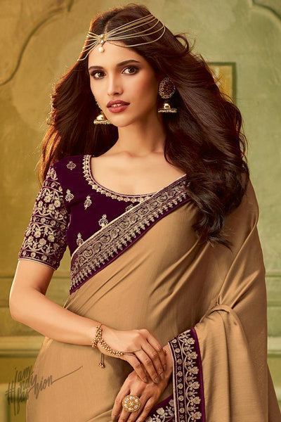 Brown and Wine Silk Party Wear Saree