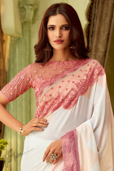 White and Pink Silk Party Wear Saree