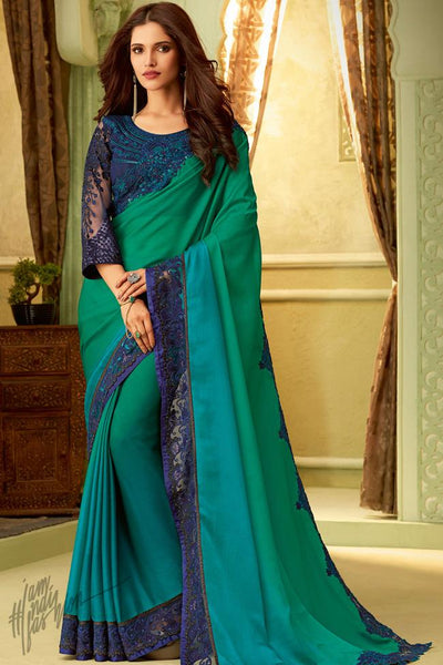 Green and Blue Shaded Silk Party Wear Saree