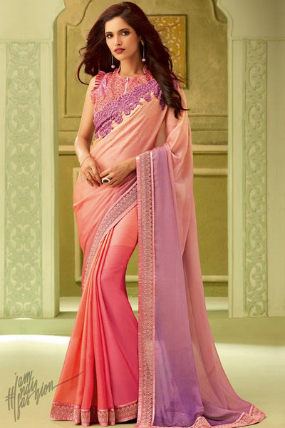 Pink and Purple Shaded Silk Party Wear Saree