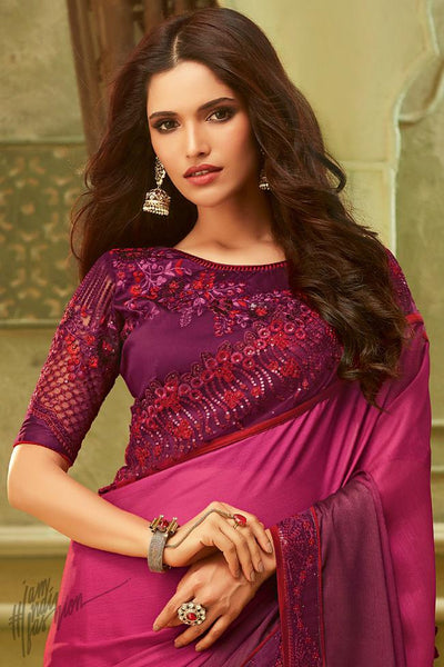 Magenta and Wine Shaded Silk Party Wear Saree