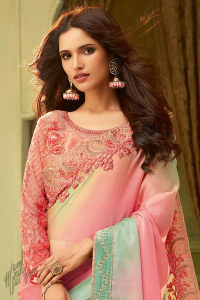 Pink and Green Shaded Silk Party Wear Saree